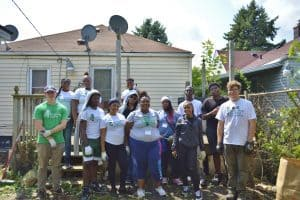 Volunteers from Hope Community Church after a days work at a house in Jefferson-Chalmers.
